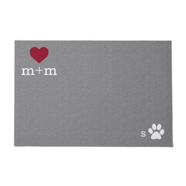 hacheu Personalized Heart Welcome Grey Pet Mat