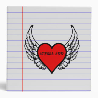 Personalized Heart With Wing Lined Paper School Binder