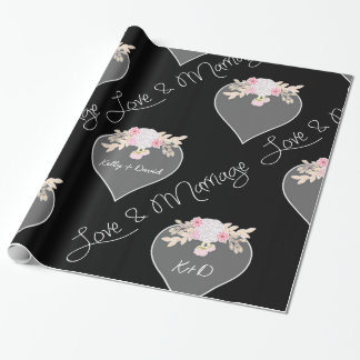 Personalized Hearts and Flowers Chalkboard Wedding Gift Wrapping Paper