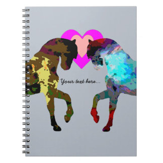 Personalized Hearts And Horse On Blue Note Book