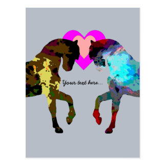 Personalized Hearts And Horse On Blue Post Card
