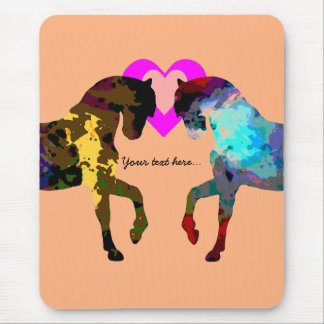 Personalized Hearts And Horse On Orange Mouse Pad