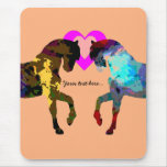 Personalized Hearts And Horse On Orange Mouse Pads