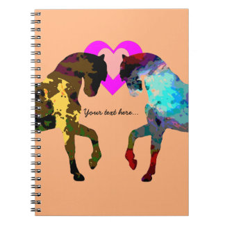 Personalized Hearts And Horse On Orange Note Book