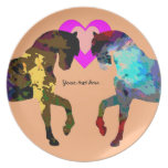 Personalized Hearts And Horse On Orange Dinner Plates