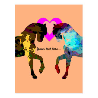 Personalized Hearts And Horse On Orange Postcard