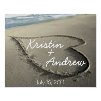Personalized Hearts in the Sand Wedding Gift Posters