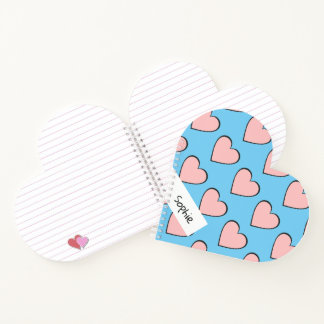 Personalized hearts notebook