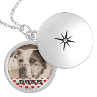 Personalized Hearts Pet Photo Memorial Keepsake Round Locket Necklace