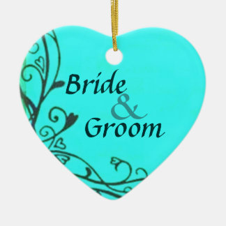 Personalized Hearts Teal Wedding Keepsake Ornament