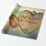 """Personalized Hearts Wedding/Anniversary Wrapping Paper<br><div class=""""desc"""">Add a personal touch to your gift giving with this beautiful wooden heart gift wrap with last &amp; first name personalization.  A great wrap for weddings and anniversaries.</div>"""