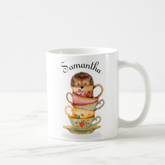 Personalized Hedgehog and Colorful Teacups Mug