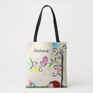 Personalized Hedgehog And Owl Tote Bag