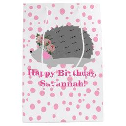 Personalized Hedgehog Birthday Gift Bag