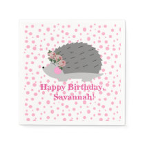 Personalized Hedgehog Birthday Napkin