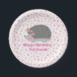 "Personalized Hedgehog Birthday Paperplate Paper Plate<br><div class=""desc"">Your little one will love this popular hedgehog theme plate with her name.</div>"