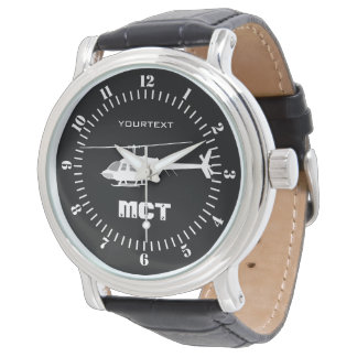 Personalized Helicopter Chopper Silhouette Flying Wrist Watches