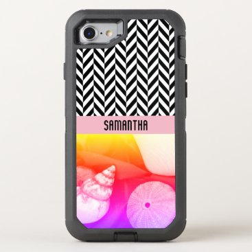 Beach Themed Personalized Herringbone Sea Shell Colors - OtterBox Defender iPhone 7 Case