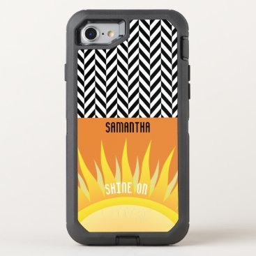 Beach Themed Personalized Herringbone with Sunset Colors - OtterBox Defender iPhone 7 Case