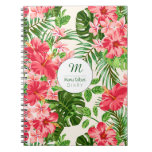 Personalized Hibiscus Flower Monogram S Notebook