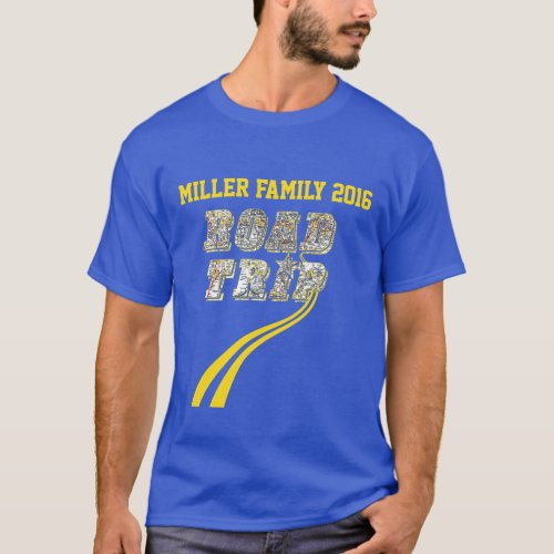 Personalized Highway Map Yellow Lines Road Trip T_Shirt