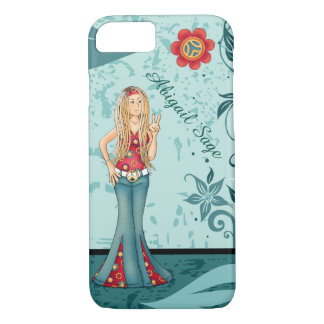 Personalized Hippie Girl, Peace Sign and Flowers iPhone 7 Case