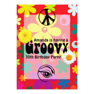 Personalized Hippie Themed Party 5x7 Paper Invitation Card