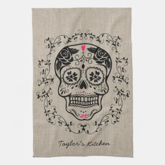 Personalized Hipster Sugar Skull Hand Towel