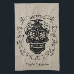 """Personalized Hipster Sugar Skull Kitchen Towel<br><div class=""""desc"""">Decorate your kitchen with this chic trendy hipster Sugar Skull design. A sweet sugar skull with various flowers and roses. Funky urban cool design featuring ornate swirls and vintage texture patterns. A frame of vines surrounds the skull. Celebrate Mexico&#39;s Day of the Dead or Dia de los Muertos with this...</div>"""