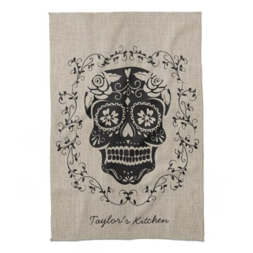 Halloween Themed Personalized Hipster Sugar Skull Kitchen Towel