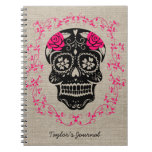 Personalized Hipster Sugar Skull Notebook