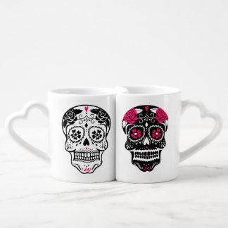 Personalized Hipster Sugar Skull Lovers Mug Set