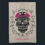 """Personalized Hipster Sugar Skull Towel<br><div class=""""desc"""">Decorate your kitchen with this chic trendy hipster Sugar Skull design. A sweet sugar skull with various flowers and roses. Funky urban cool design featuring ornate swirls and vintage texture patterns. A frame of vines surrounds the skull. Celebrate Mexico&#39;s Day of the Dead or Dia de los Muertos with this...</div>"""