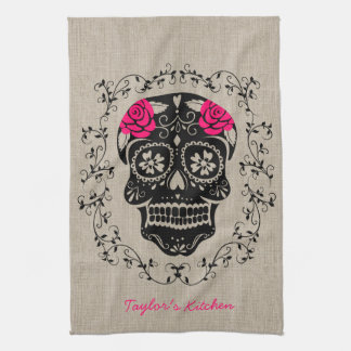 Personalized Hipster Sugar Skull Towel