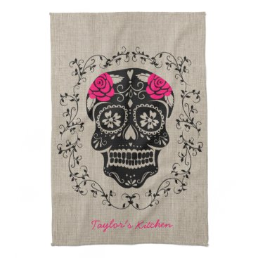 Halloween Themed Personalized Hipster Sugar Skull Towel