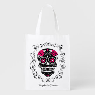 Personalized Hipster Sugar Skull Trick or Treat Grocery Bags