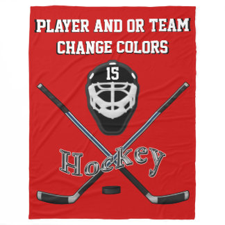 Personalized HOCKEY Blanket, Your TEXT and COLORS
