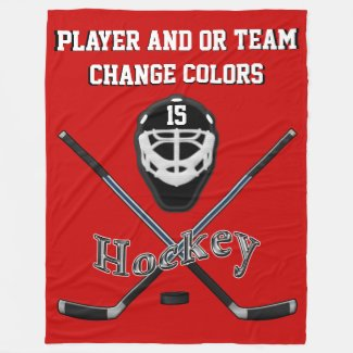 Personalized HOCKEY Blanket, Your TEXT and COLORS Fleece Blanket