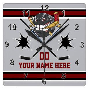 Personalized Hockey Clocks, Hockey Bedroom Decor Square Wall Clock