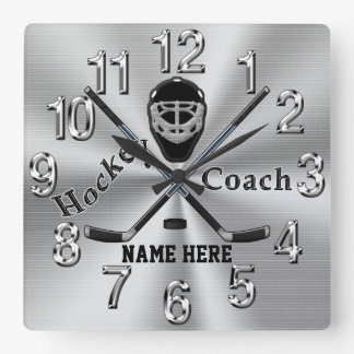 Personalized Hockey Coach Gifts with Name or Text Square Wall Clock