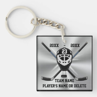 Personalized Hockey Keychains with 3 Text Boxes