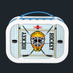 """Personalized Hockey Name and Number Lunch Box<br><div class=""""desc"""">The perfect lunchbox for the hockey fanatic of the family! Features custom hockey imagery and goal net with customizable name,  number,  and hockey text. Enjoy!</div>"""
