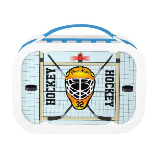 Personalized Hockey Name And Number Lunch Box at Zazzle