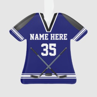 Personalized Hockey Ornaments, Jersey Shaped