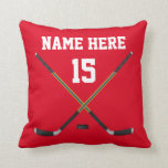 Personalized Hockey Pillow, NAME, NUMBER, COLORS Throw Pillow