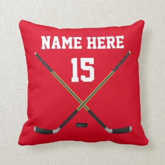 Personalized Hockey Pillow, NAME, NUMBER, COLORS Throw Pillows