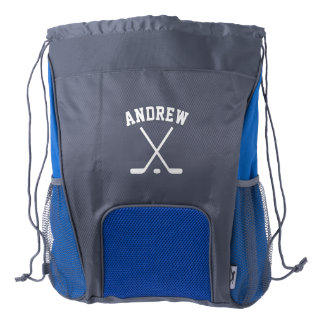 Personalized hockey player drawstring backpack