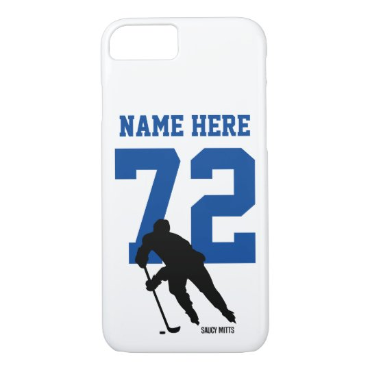 new product 6b5f2 5d89d Personalized Hockey Player Name Number Blue Case-Mate iPhone Case