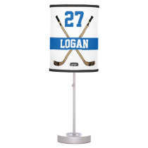 Personalized Hockey Player Name Number Blue Table Lamp