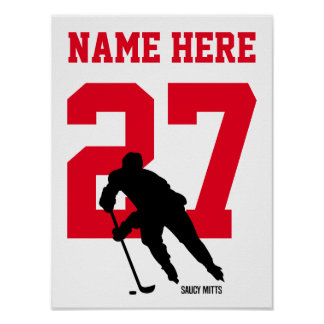 Personalized Hockey Player Number Red Poster